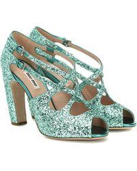 Miu Miu Glitter Sandals - Multicolour