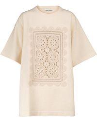 Acne Studios Camiseta en mezcla de algodón y crochet - Neutro