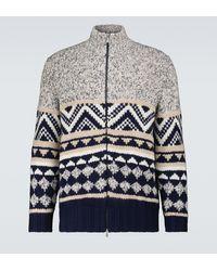 Brunello Cucinelli Cardigan zippé en laine et en cachemire - Gris