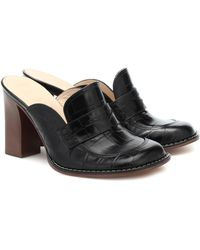 Loewe Croc-effect Leather Mules - Black