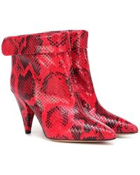 Isabel Marant Lisbo Leather Ankle Boots - Red