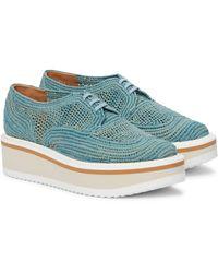 Clergerie Birdie Raffia Platform Derby Shoes - Blue