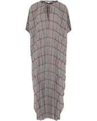 Stella McCartney Robe longue en laine mélangée à carreaux - Noir