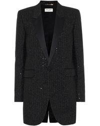 Saint Laurent Blazer de tweed con lentejuelas - Negro