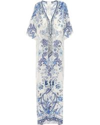 Camilla Paisley-print Laced Silk Kaftan - Blue