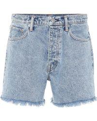 Helmut Lang Cut Off Boy Fit Denim Shorts - Blue