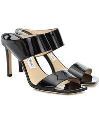 Jimmy Choo Hira Patent Leather Mules - Black