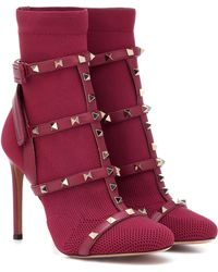 Valentino Rockstud Bodytech Ankle Boots - Red