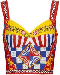 Dolce & Gabbana Bustier mezcla de algodón elástico print - Multicolor