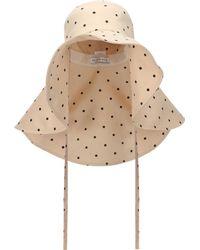 Rejina Pyo Daisy Polka-dot Satin-jersey Hat - Natural