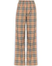 Burberry High-rise Wide-leg Cotton Pants - Natural