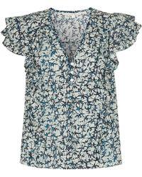 Veronica Beard Joi Printed Cotton Top - Blue