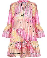 Juliet Dunn Striped Embellished Minidress - Pink