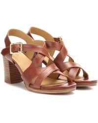 A.P.C. Salma Block-heel Leather Sandals - Brown