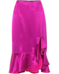 Tom Ford Silk-satin Midi Skirt - Purple