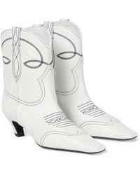 Khaite Ankle Boots Dallas aus Leder - Weiß