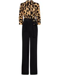 Diane von Furstenberg Blake Printed Silk-blend Crêpe Jumpsuit - Brown
