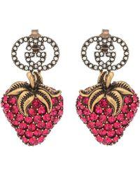 Gucci Aretes Strawberry con cristales - Rojo