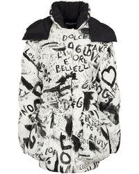 Dolce & Gabbana Manteau doudoune DG graffiti imprimé - Noir