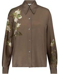 Vince Floral Silk Satin Shirt - Green