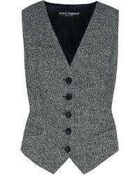 Dolce & Gabbana Wool And Silk-blend Vest - Grey