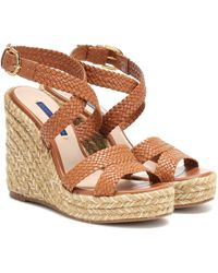 Stuart Weitzman Elsie Leather Wedge Espadrilles - Brown
