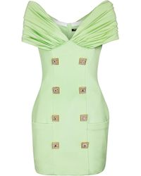 Balmain Vestido corto de crepé con adornos - Verde