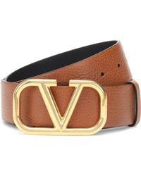 Valentino Vlogo Leather Belt - Brown