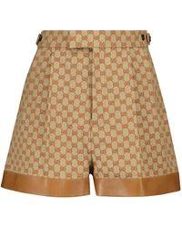 Gucci Shorts GG aus einem Leinengemisch - Braun