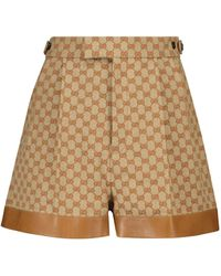Gucci GG Leather-trimmed Linen-blend Shorts - Brown