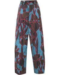 Dries Van Noten Floral High-rise Wide-leg Pants - Blue