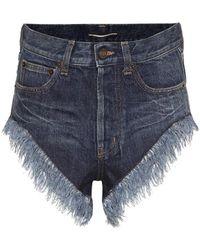 Saint Laurent Shorts di jeans - Blu