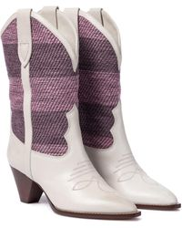 Isabel Marant Botas cowboy Luliette de piel - Rosa
