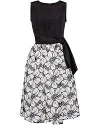 Carolina Herrera Floral Silk Faille And Organza Midi Dress - Black