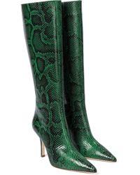 Paris Texas Bottes en cuir embossé à motif serpent - Vert