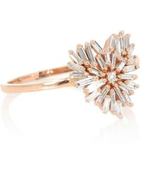 Suzanne Kalan Small Heart 18kt Rose Gold Ring With Diamonds - Metallic