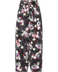 Erdem Everett Floral Satin Pajama Pants - Black