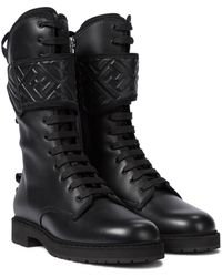Fendi Ff Leather Combat Boots - Black