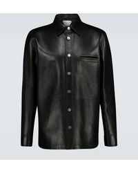 Bottega Veneta Hemdjacke aus Leder - Schwarz