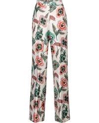 Ferragamo - Pantalones anchos de sarga de seda - Lyst