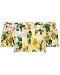 Dolce & Gabbana Floral Cotton Poplin Crop Top - Yellow