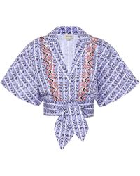 Temperley London Poet Printed Cotton Cropped Shirt - Blue