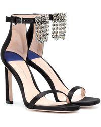 Stuart Weitzman Squarenudist 100 Suede Sandals - Black