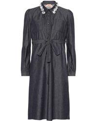 N°21 - Embellished Denim Shirt Dress - Lyst