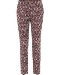 Etro Pantalones en mezcla de lana print paisley - Rojo