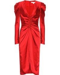 Jonathan Simkhai Vestido midi de satén - Rojo