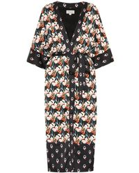 Temperley London Kimono Dragonfly in satin - Nero