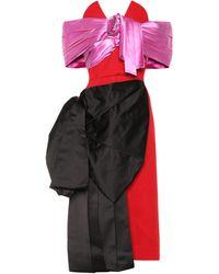 Prada Robe aus Wolle und Seidensatin - Rot