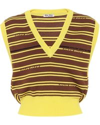 Miu Miu Striped Intarsia Wool Jumper Vest - Yellow
