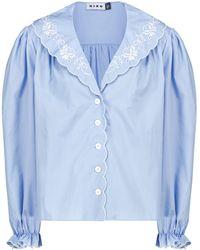RIXO London Bluse Darcy aus Baumwolle - Blau